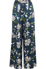 Floral-print silk-charmeuse wide-leg pants