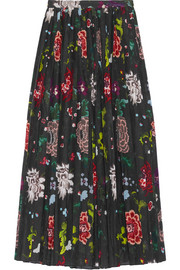 Pleated floral-print voile wrap skirt