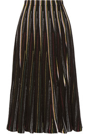 Striped open-knit cotton-blend midi skirt