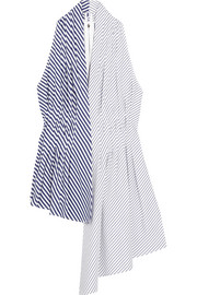 Asymmetric striped cotton-poplin top