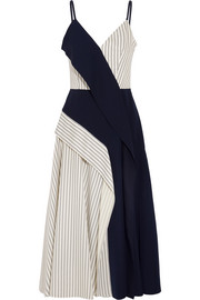 Adeam Paneled striped twill and crepe midi dress