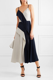 Paneled striped twill and crepe midi dress