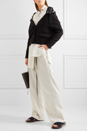 Striped twill wide-leg pants