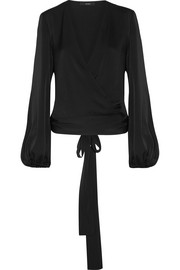 Missionary silk-blend satin wrap blouse