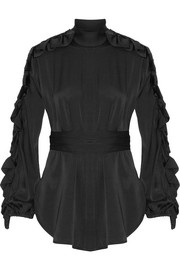 Audacity ruffle-trimmed stretch-silk blouse