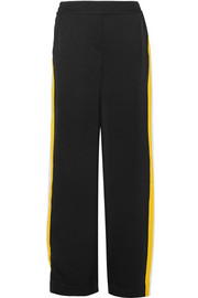 Ellery Reality stretch knit-trimmed satin-crepe wide-leg pants