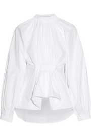 Ellery Echo gathered cotton-jacquard shirt