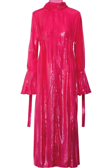 Ellery - Valour Pussy-bow Metallic Velvet Midi Dress - Fuchsia
