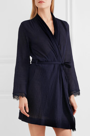 Lace-trimmed cotton-gauze robe