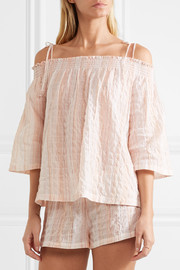 Off-the-shoulder crinkled cotton-blend gauze pajama top
