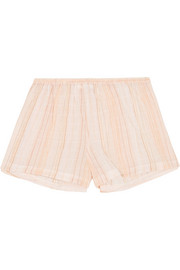 Crinkled cotton-blend gauze pajama shorts