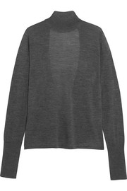 Open-back merino wool turtleneck sweater