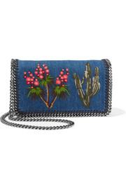 The Falabella embroidered denim shoulder bag