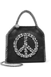 Stella McCartney The Falabella tiny embellished faux brushed-leather shoulder bag