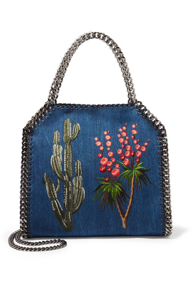 Stella McCartney - The Falabella Embroidered Denim Shoulder Bag - Indigo