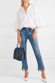 Stella McCartney The Falabella embroidered denim shoulder bag