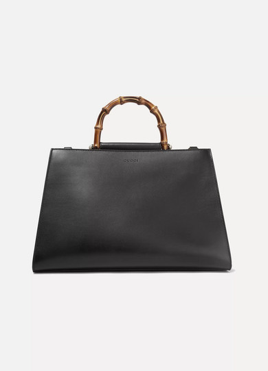 gucci female gucci nymphaea bamboo large twotone leather tote black