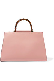 Gucci Nymphaea Bamboo large two-tone leather tote