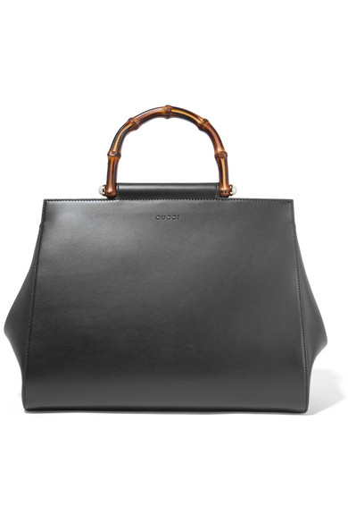 gucci female gucci nymphaea bamboo medium leather tote bag black