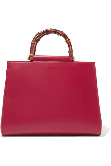 gucci female gucci nymphaea bamboo medium leather tote red