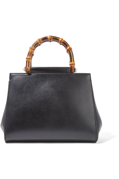 gucci female gucci nymphaea bamboo small leather tote black
