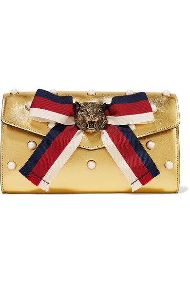 gucci female gucci broadway faux pearlembellished metallic leather clutch gold