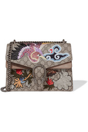 Dionysus medium appliquéd coated-canvas and suede shoulder bag