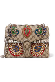 Dionysus medium appliquéd embellished coated-canvas and snake shoulder bag