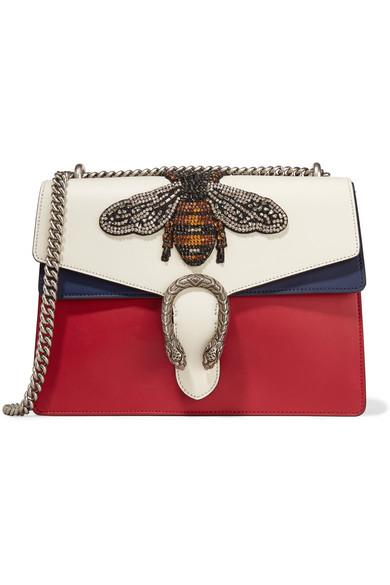 Gucci - Dionysus Medium Appliquéd Colorblock Leather Shoulder Bag - Red