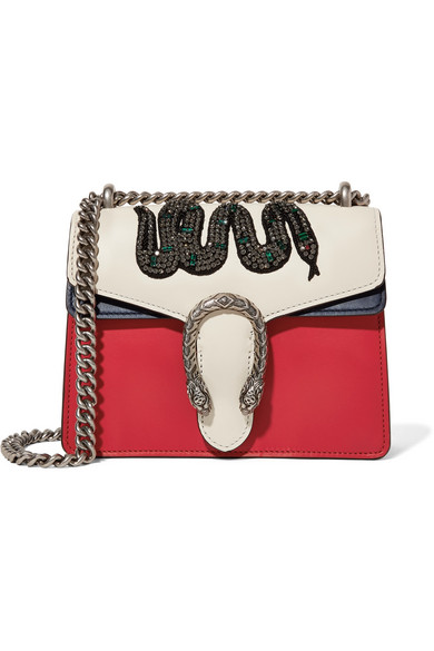 gucci female gucci dionysus mini appliqued leather shoulder bag red