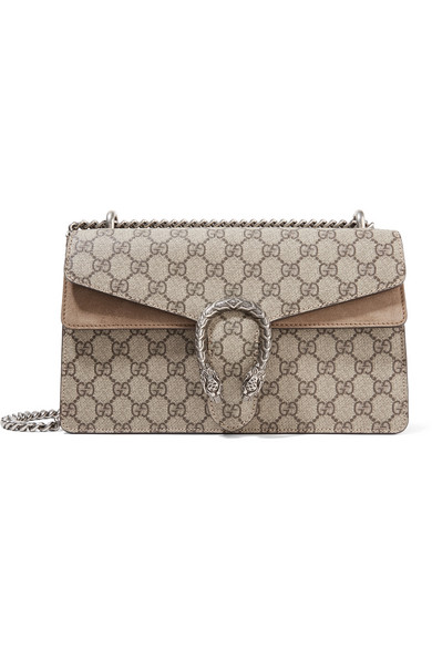 gucci female gucci dionysus small coatedcanvas and suede shoulder bag beige