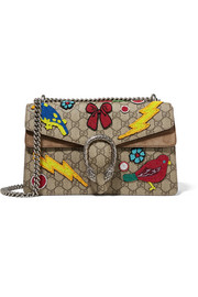 Dionysus small embellished coated-canvas and suede shoulder bag
