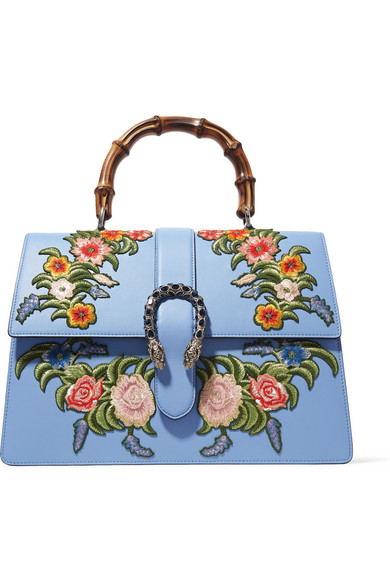 gucci female gucci dionysus bamboo large appliqued leather tote light blue
