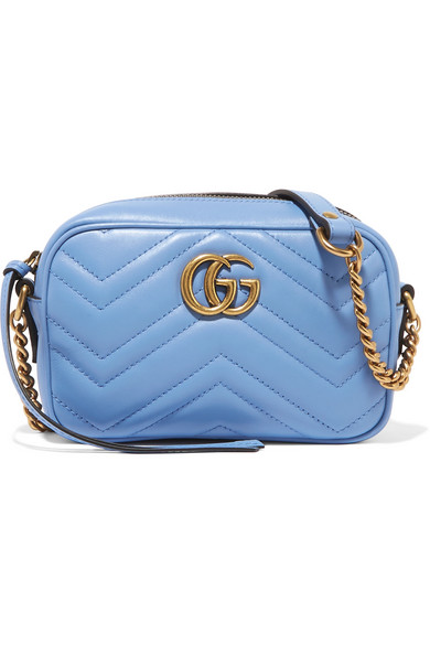 gucci female gucci gg marmont camera mini quilted leather shoulder bag sky blue