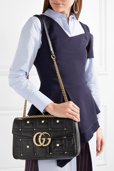 dab189257a4453 Gucci | GG Marmont 2.0 medium embellished quilted leather shoulder ...