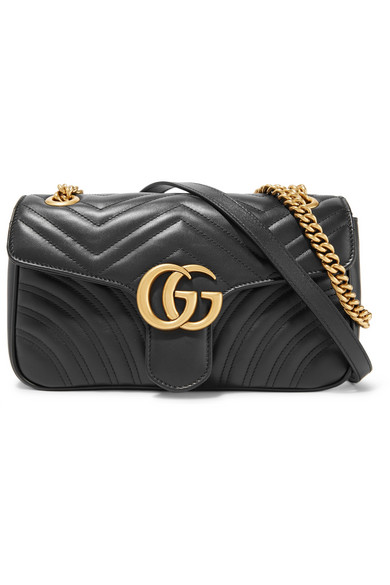gucci female 188971 gucci gg marmont 20 small quilted leather shoulder bag black