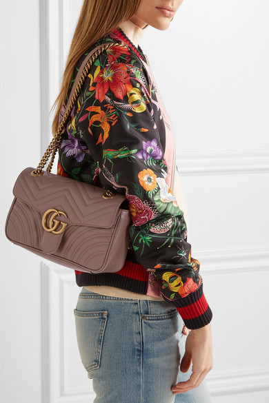 4bf1aebd9407 Gucci. GG Marmont 2.0 small quilted leather shoulder bag. $1,890. Play