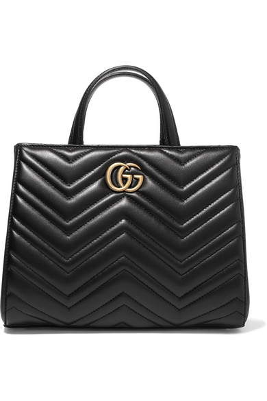 gucci female gucci gg marmont quilted leather tote black