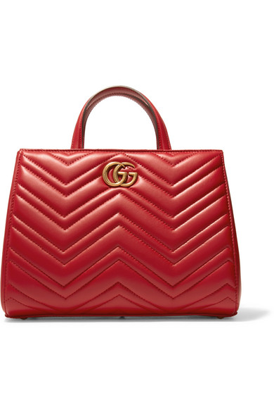 gucci female gucci gg marmont quilted leather tote red