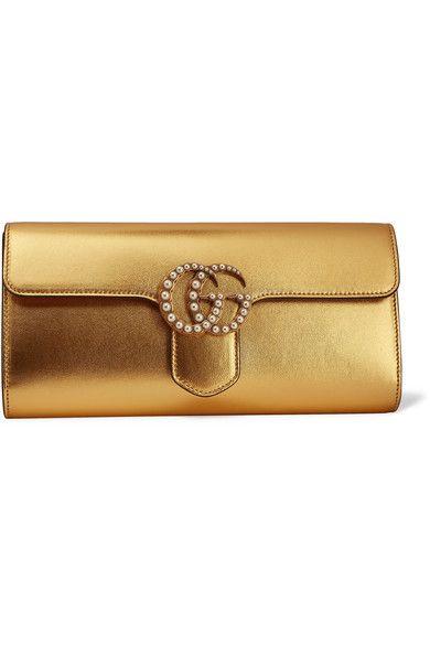 Gucci - Gg Marmont Faux Pearl-embellished Metallic Leather Clutch - Gold