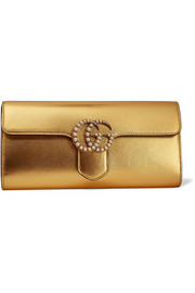 Gucci GG Marmont faux pearl-embellished metallic leather clutch