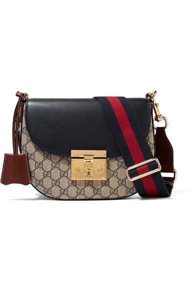 Gucci - Padlock Saddle Medium Leather-trimmed Coated-canvas Shoulder Bag - Beige