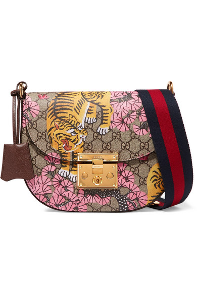GUCCI PADLOCK MEDIUM COATED-CANVAS AND TEXTURED-LEATHER SHOULDER BAG