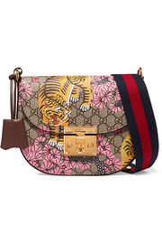 Padlock medium coated-canvas and textured-leather shoulder bag