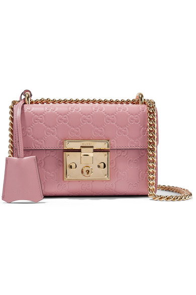 Gucci Padlock Small Embossed Leather Shoulder Bag Pink