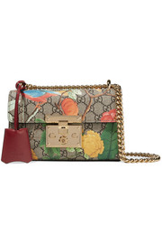 Padlock small coated-canvas and leather shoulder bag