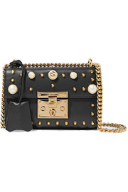 Padlock small faux pearl-embellished studded leather shoulder bag
