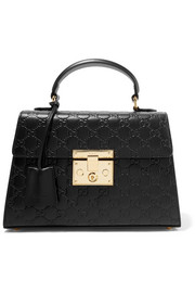 Padlock embossed leather tote