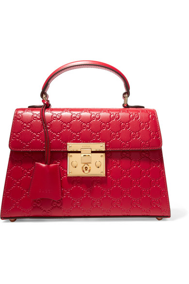 gucci female gucci padlock small embossed leather tote red