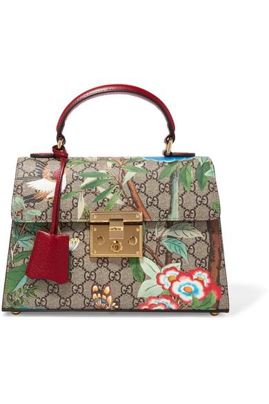 gucci female gucci padlock small coatedcanvas and leather tote green